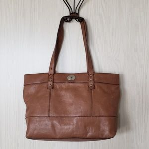Fossil Hunter Chestnut Brown Leather Tote